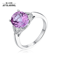 ATTA GEMS Natural Contemporary Pink Topaz Oval Brilliant Cut 925 Sterling Silver Ring Women Jewelry For