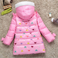 2016 Baby Girls Parka Coats Kids Winter Jacket Girls Duck Down Coat Cartoon Print Children Outerwear Warm Girls Coat DQ108