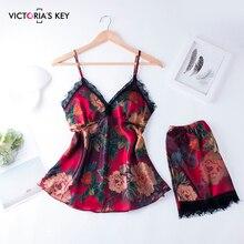 Suphis 레이스 새틴 잠옷 세트 여성 꽃 인쇄 밤 정장 실크 2019 여름 잠옷 세트 홈웨어 의류 섹시한 잠옷