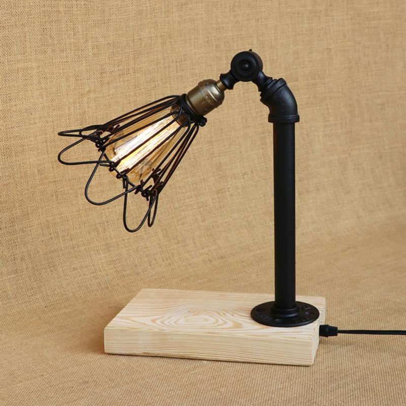 Modern LOFT desk lamp LED/Edison light adjustable Iron lampshade E27 table lamp for bedroom restaurant Cafe 220V