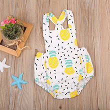Cartoon Fruit Cute Baby Girl Clothes Pineapple Print Jumpsuit Romper Summer Sleeveless Outfit Playsuit(China)