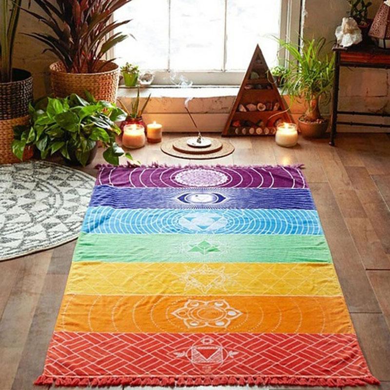 Dropship! Single Rainbow Chakra Tapestry Towel Carpet Mandala Boho Stripes Travel Yoga Mat Outdoor Mats 150x70cm/100x45cm 6