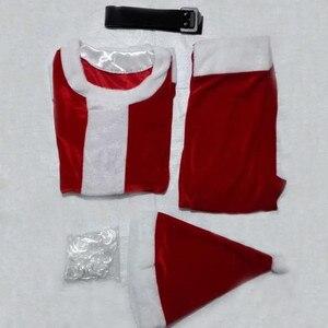 Image 4 - למבוגרים סנטה קלאוס תלבושות חליפת קטיפה אב מפואר בגדי חג המולד קוספליי אבזרי גברים מעיל מכנסיים זקן חגורת כובע חג המולד סט