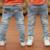 Vestido 2017 Primavera Outono novos meninos Crianças moda jeans Calças jeans Crianças Correram Light-colored B135