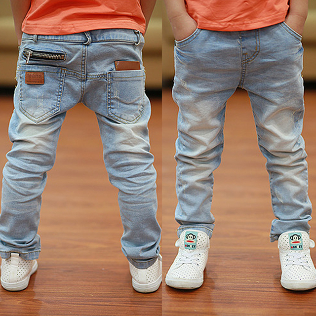 Vestido 2017 Spring  Autumn new boys jeans Kids Rushed  Light-colored  fashion Children jean Trousers  B135