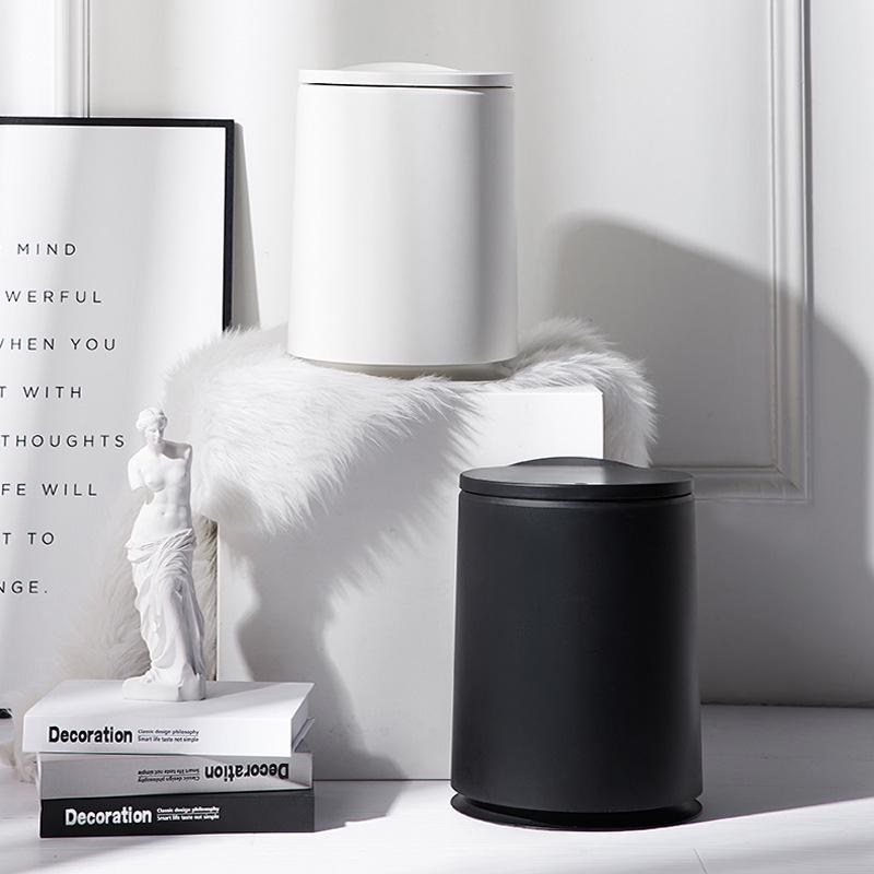 Скандинавский прессованный тип, круглый пластиковый мусорный бак, двухслойный многоцелевой мусорный бак для ванной комнаты, спальни, бытовой чистящий инструмент|Мусорные баки| | АлиЭкспресс