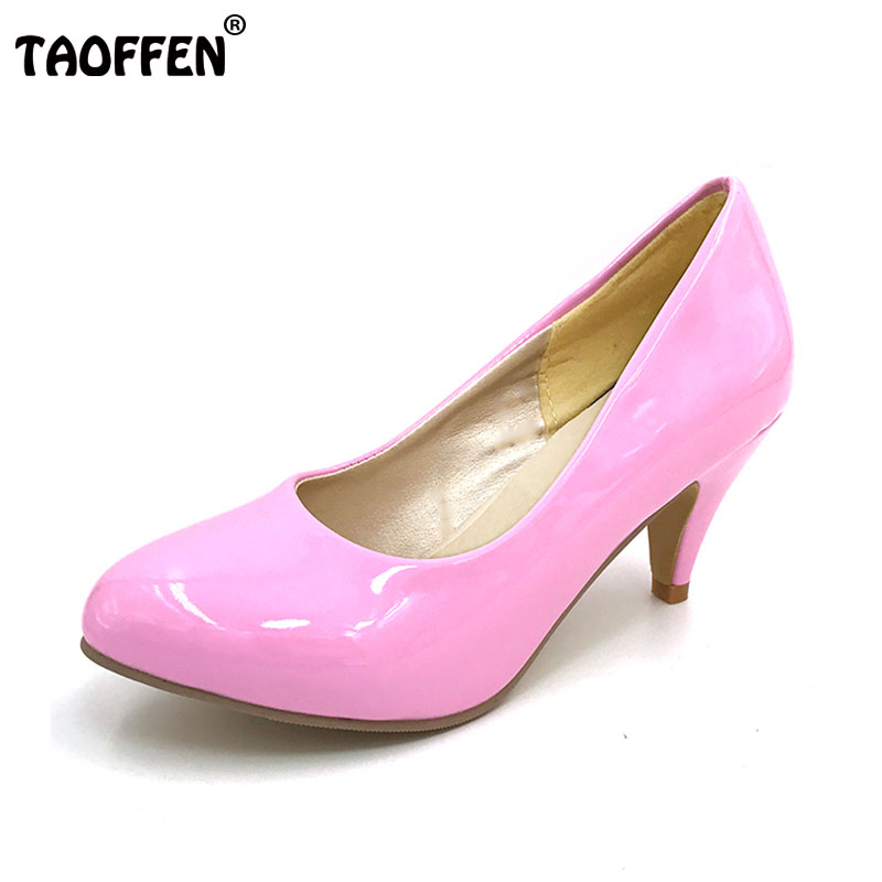 TAOFFEN women high heel shoes lady sexy dress footwear pointed toefashion pumps P3939 hot sale EUR size 34-47 3939