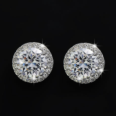 a454d4cb7 White Gold Plating Cut 13.5mm Round Shape Cubic Zirconia Diamond Stud  Earring Design For Women EA1009