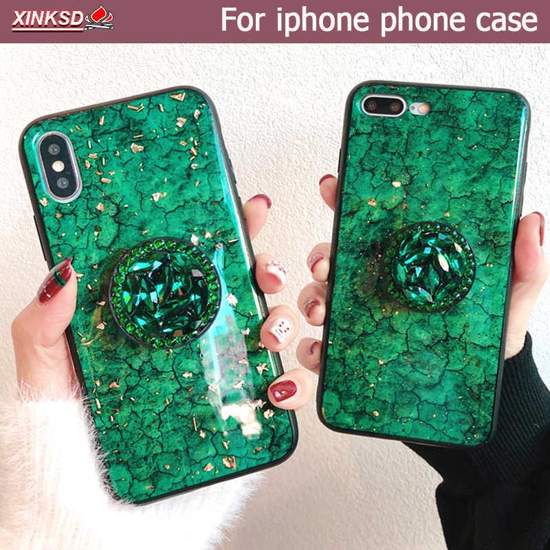 สีเขียว emerald marble รูปแบบเพชร extension bracket เงาซิลิโคนสำหรับ iphone MAX XS XR 6 S 7 8 plus X โทรศัพท์กรณี