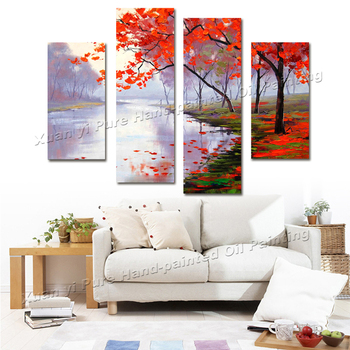 4 Panel Impressionist Palette Knife Tree River Oil Painting Canvas Wall Art Cuadros Wall Pictures For Living Room Unframed XY156