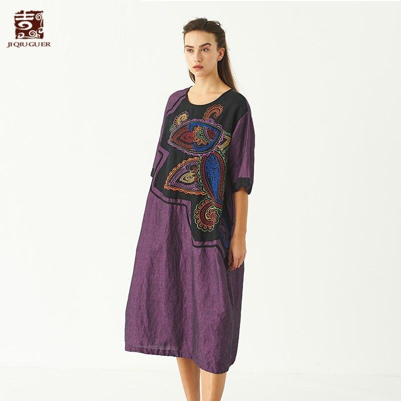 Jiqiuguer Для женщин осень синий свободные Vestidos короткий рукав O шеи Карманы Вышивка Лоскутное 100% лен Повседневное платья G182Y085