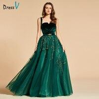 Dressv зеленое длинное вечернее платье элегантный, на бретельках Бисероплетение на молнии свадебное вечернее платье кружевное вечернее плать