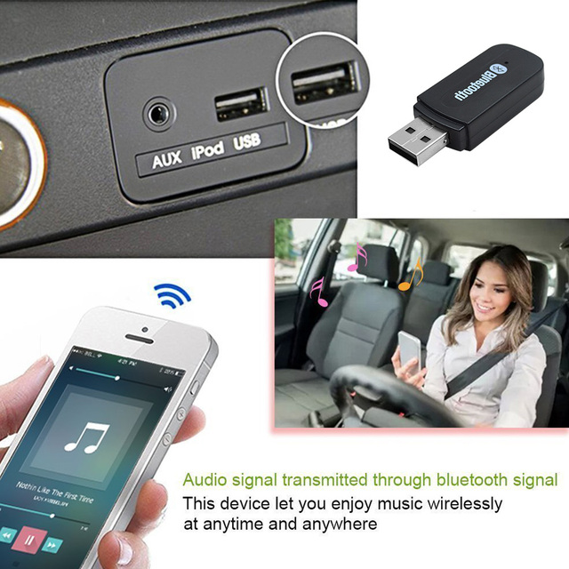 3.5mm Stereo Audio USB Bluetooth Car Adapter AUX Kit Wireless Portable Mini...