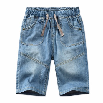New Summer Children Denim Shorts Fashion Washed Blue Jeans Big Boys Short Pants Kids Teenagers Causal Blue Color trousers BC067 1