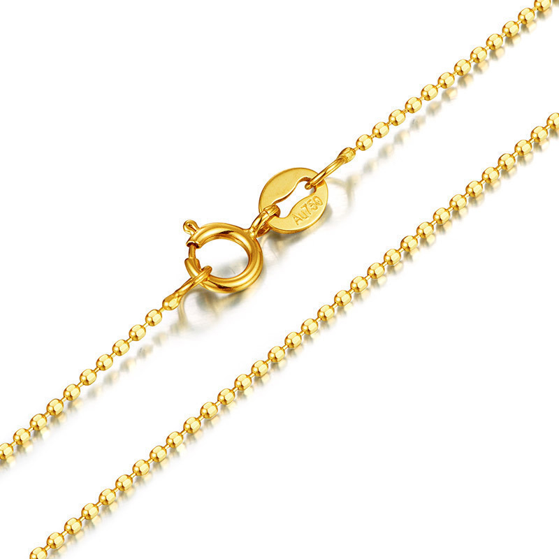 Pure AU750 Yellow Gold Necklace Chain Women Beads Link Necklace Chain stylish beads round layered link design necklace for women