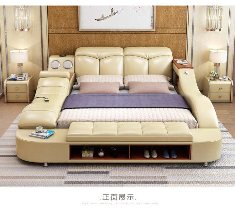 Real Genuine leather bed frame massage Soft Bed Home Bedroom Furniture camas lit muebles de dormitorio yatak mobilya quarto bett
