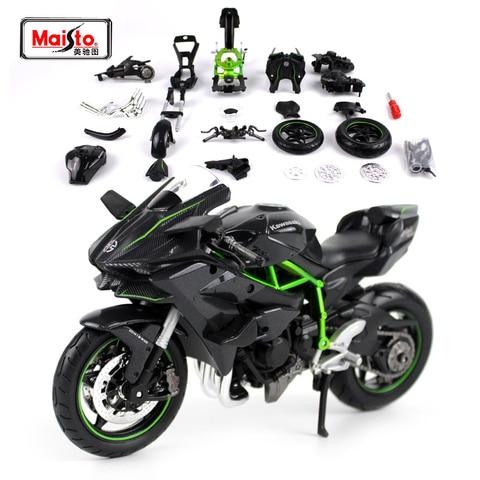 maisto 1 12 kawasaki ninja h2r montagem diy motocicleta bicicleta modelo kit frete gratis nova
