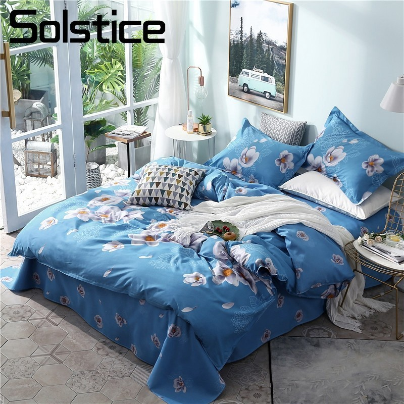 Solstice Home Textile Blue Flower Duvet Quilt Cover Pillowcases Bed Sheet Girls Kid Teens Bedding Sets Queen King Full Bed Linen
