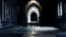 5x7FT Harry Potter Hogwarts Dark Stone Arch Hallway Custom Photo Studio Backdrop Background Vinyl 220cm x 150cm(China (Mainland))
