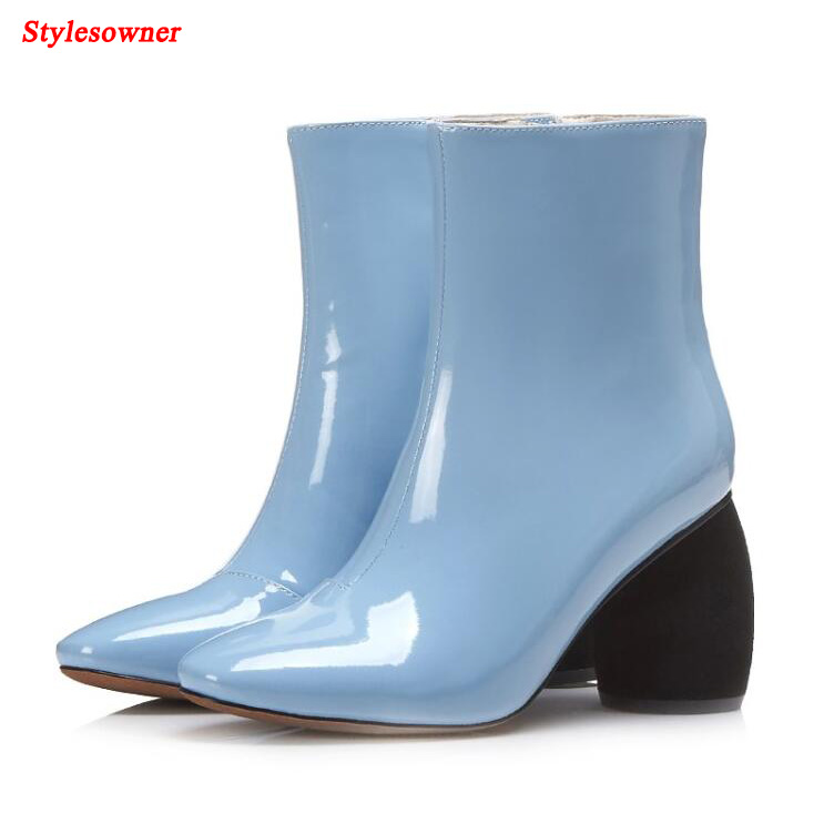 Stylesowner Pointed Toe Winter Ankle Boots Fashion Strange High Heel Solid Color Patent Leather Boots Shoes Women Plus Size 43 winter solid real leather ankle fashion dr boots pointed toe side zip cowhide plus velvet high heel boot women casual thick