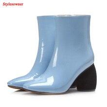 Stylesowner острый носок Зимние ботильоны модные Необычные высоком каблуке Цвет Лакированная кожа сапоги обувь для женщин; Большие размеры 43