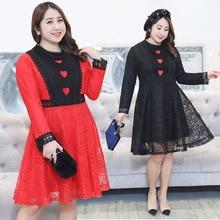 Spring 2018 womens casual gauze lace dress long sleeve slim fat MM