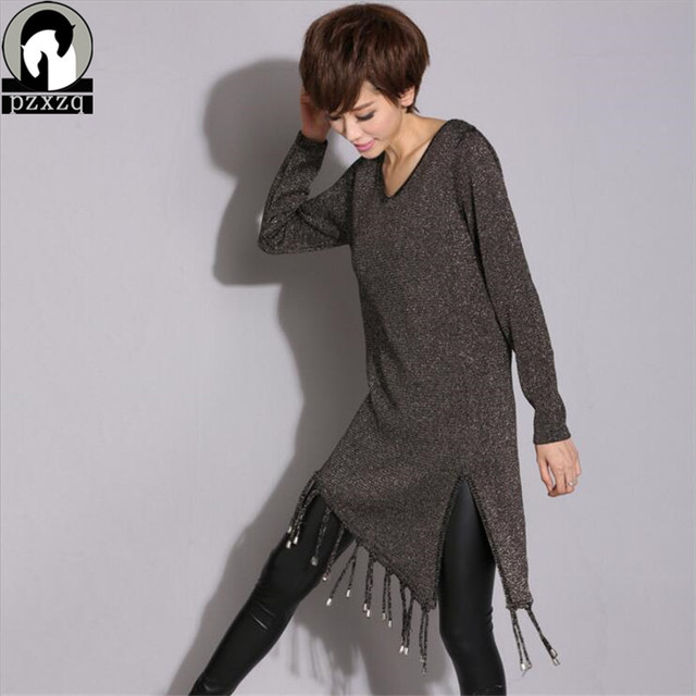 2019 Fashion Design Tassel Women Sweater O-neck Full Sleeve Knitted Irregular Long Winter Autumn Solid Color Pullovers Sweater