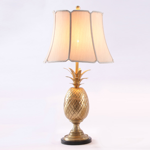 Vivid Golden Copper Pineapple Design And Marble Base Table Lamp In