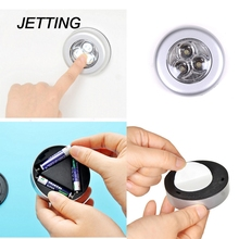 JETTING New 1PCS Mini Round 3 LED Push Tap Stick Convenient Touch Practical Cabinet Home Night Light Lamp Cordless Bulb