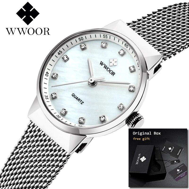 2018 nuevo WWOOR Simple mujer relojes de señoras reloj Ultra delgado reloj de cuarzo mujer plata señoras reloj femenino