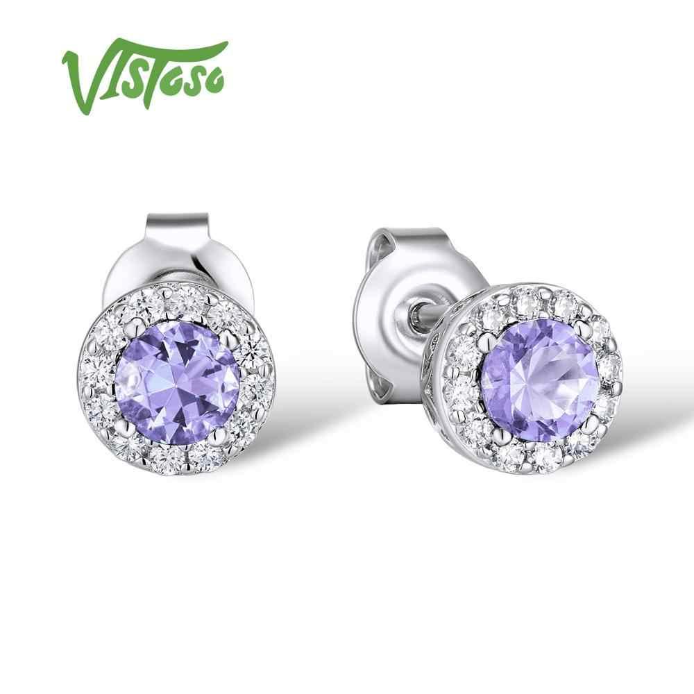VISTOSO srebrny kolczyki dla kolczyki wkręty damskie niebieski zielony różowy fioletowy kryształ Cubic cyrkon 925 Sterling Silver Fine Jewelry