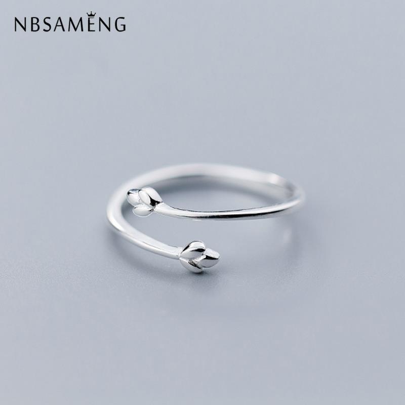100% стерлингового серебра 925 Нежный Три ветка с листьями спираль Открытые Кольца для женщин Laydy Girl Регулируемый ювелирный подарок