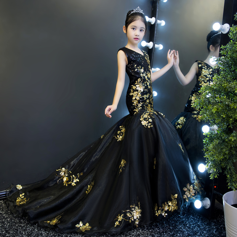 Luxury Black Mermaid Flower Girl Dresses Sequined Royal Party Dress Long Tailing Girls Pageant Dress Birthday Catwalk Show B88
