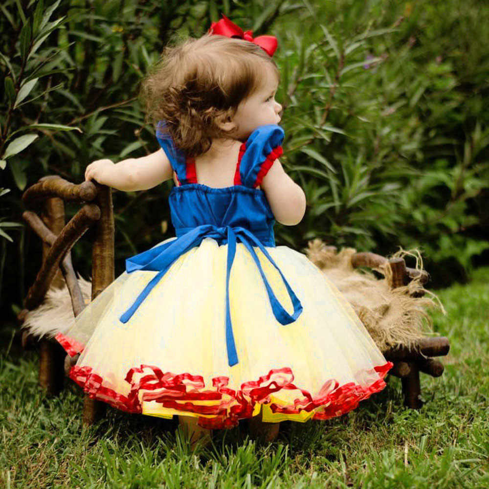 Snow White Lace Cosplay Dresses for Girls Party Princess Dress Children's Tulle Dress Baby Girl Tutu Bow Dress Infant 12M-5T 827