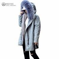 2019 Faux Fur Collar Denim Jacket Winter Coat Women Clothing Cotton Padded Jeans Outwear Korean Hooded Long Warm Parka Okd395