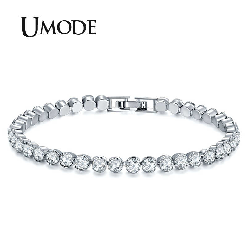 UMODE New Women Fashion Silver Color Bracelets Luxury Round Cubic Zirconia Bracelet for Women Wedding Jewelry Gifts UB0175A