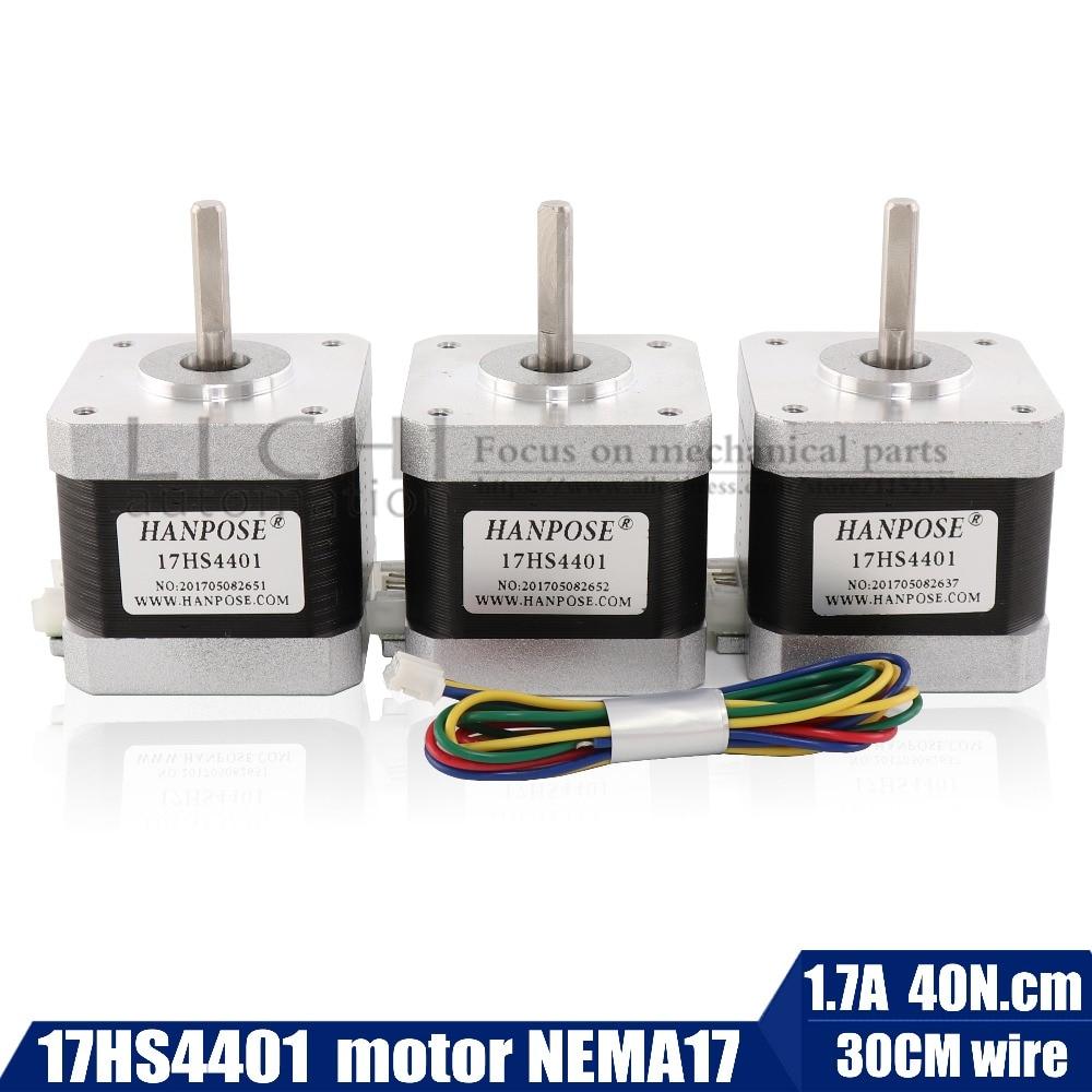 Free Shipping  40mm Nema17 Stepper Motor 42 Motor42BYGH 1.7A (17HS4401) Motor 4-lead  For 3D Printer