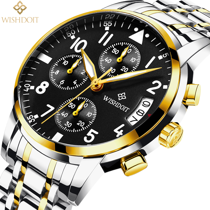 WISHDOIT Men's Watches Top Brand Luxury Business Quartz Steel Strip Sport Waterproof Mens Watch Men Clock Relogio Masculino 2017 mens watches top brand luxury wishdoit chronograph luminous quartz watch men business men stainless steel waterproof wristwatch