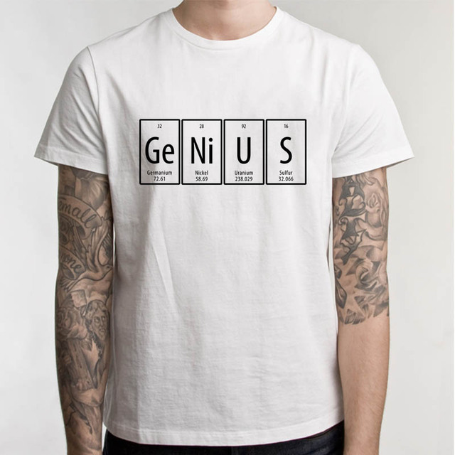 Creative periodic table of the elements genius t shirt men white creative periodic table of the elements genius t shirt men white casual tee shirt beauty letter urtaz Image collections