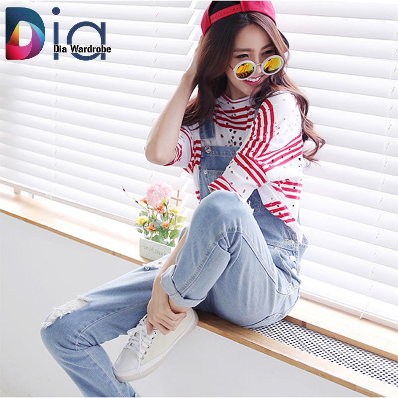 554f28f842f4 Dia Women Denim Skinny Rompers and Jumpsuit Overalls Korean New Hole 3 Color  Plus Size Lady Elegant Jeans Jumpsuits Pants H191 on Aliexpress.com