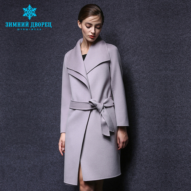 WINTER PALACE spring and autumn fashion women cashmere coat real cashmere overcoat Turn - Down collar slim Style wool coat