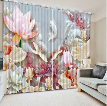 Flowers print Chinese Customized 3D Blackout Curtains Living Room louts curtains marble curtain