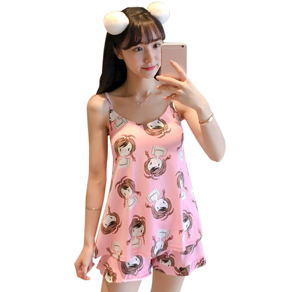 Women's Sleepwear Lovely Cartoon Girl Pattern Sleeveless Top Shorts Sleepwear Pajamas Set Cute Top and Shorts