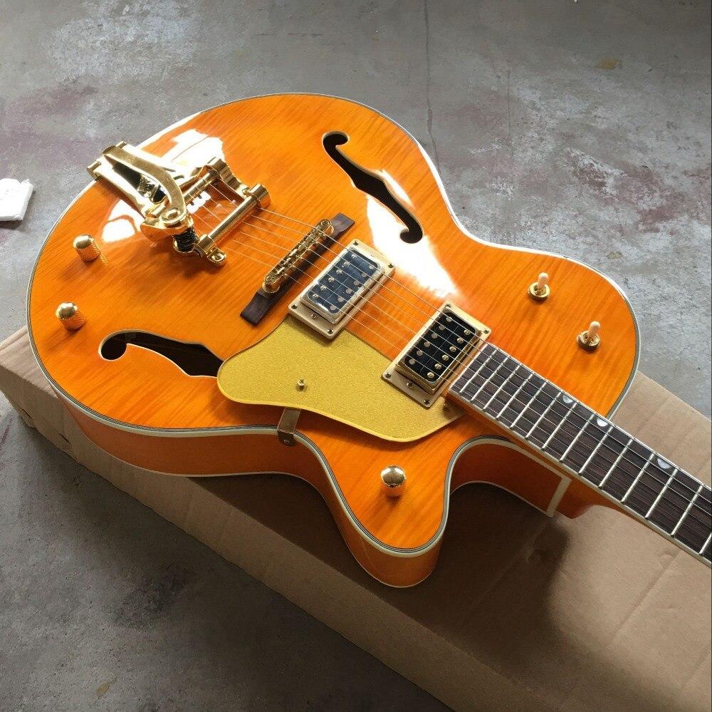 Custom shop. Guitare électrique personnalisée standard Tiger Flame. F creux corps jazz gitaar. Système de vibrato orange guitarra.