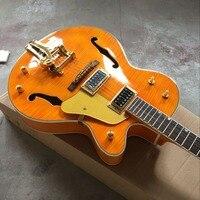 custom shop. Tiger Flame standard custom electric guitar .F hollow body jazz gitaar. orange guitarra.vibrato system