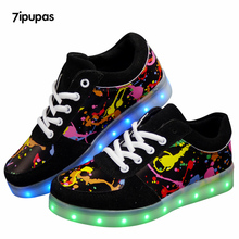 7 ipupas LLEVÓ La Luz hasta Los Zapatos para Adultos 2018 de La Nueva Manera 11 colores Unisex Hombres Graffiti led cordones de los Zapatos Luminosa Shoe con USB Recargable