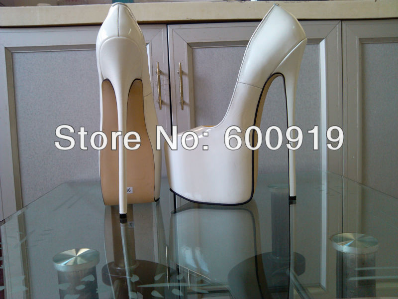 Free shipping 24cm Heel Height Genuine Leather Sexy Pointed Toe Stiletto Heel Pumps Party font b