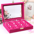 Red velvet necklace pendant display shelf jewelry box with glass cover wek-jin and receive a case 12 grids jewelry organizer box