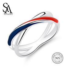 SA SILVERAGE 925 Sterling Silver Wedding Rings for Women Silver Blue/Red Stripe Rings for Women Fine Jewelry Trendy Bridal Sets silverage real 925 sterling silver star jewelry sets for women fine jewelry star necklaces couple jewelry wedding gifts