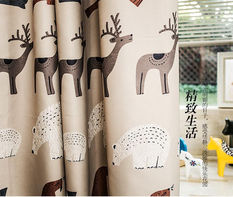 Nordic Style Curtains For Children With Elk And Polar Bear Fairy Tale Window Curtain Cortinas De Quarto Tende Camera Da Letto In From Home Garden
